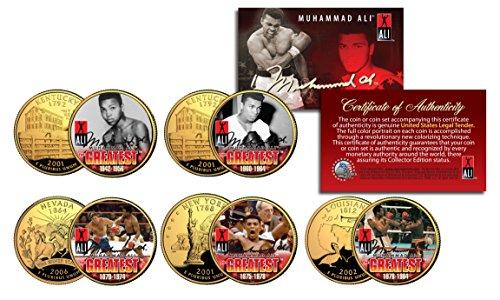 - MUHAMMAD ALI * Life & Times * 24K Gold Plated US Statehood Quarter 5-Coin Set