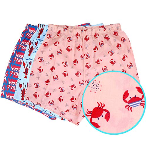 ROCK ATOLL Men's Red Lobster Crab Hell Yeah Animal Print Boxer Shorts Pack of 3 in XX-Large