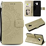 Galaxy A8 Plus 2018 Floral Protective Wallet Case,Galaxy A8 Plus 2018 Strap Flip Case,Leecase Pretty Elegant Embossed Totem Flower Design Pu Leather Bookstyle Magnetic Card Slots Wrist Strap Rose Gold Soft Inner Stand Flip Skin Case Cover Book Style With Lanyard Strap for Samsung Galaxy A8 Plus 2018 + 1 x Free Black Stylus-Gold