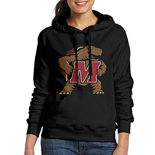 FUOALF Women's Pullover University Of Maryland UMD Testudo Hooded Sweatshirt Black XL