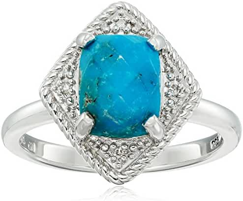Sterling Silver Rhombus Rope Turquoise and Diamond Accent Ring