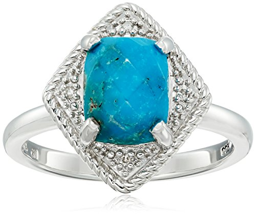 Sterling Silver Rhombus Rope Turquoise and Diamond Accent Ring, Size 7