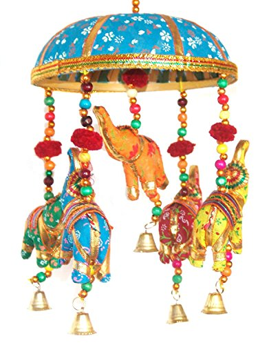 Indian Traditional Elephant Turquoise Umbrella Hanging Layer Of Five Elephant