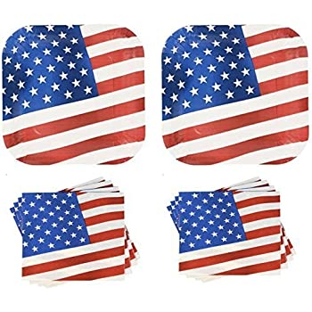 Patriotic American Flag Paper Plates and Napkins Set - 28 Plates + 40 Napkins  sc 1 st  Amazon.com & Amazon.com: Patriotic American Flag Paper Plates and Napkins Set ...