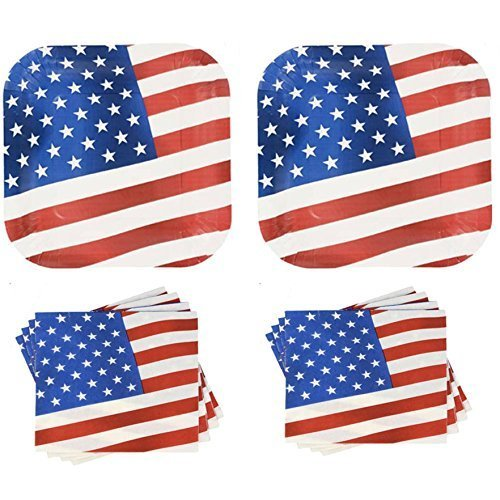 Patriotic American Flag Paper Plates and Napkins Set - 28 Plates + 40