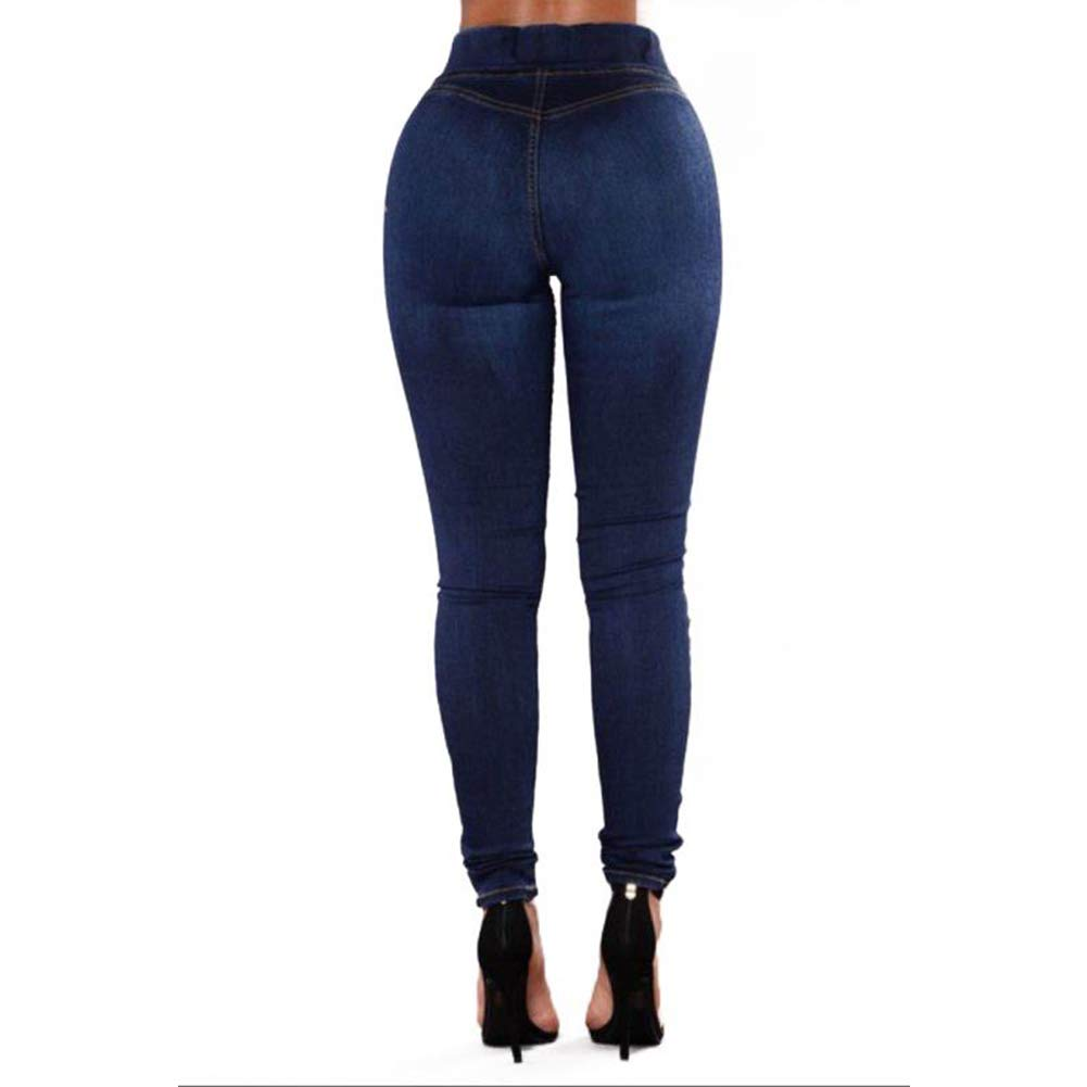 1c30df48fae004 LoVnely Women's High Waist Butt-Lifting Skinny Jeans Elastic Slim Stretch  Shaping Pencil Jeggings Pants at Amazon Women's Jeans store