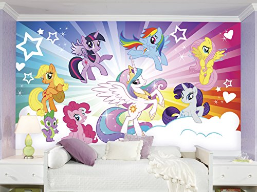 RoomMates JL1335M Ultra Strippable My Little Pony Cloud XL Chair Rail Prepasted Mural, 6 x 10.5-Feet