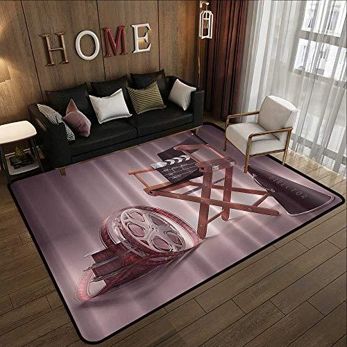 Non Slip Absorbent Carpet,Directors Chair Seat Movie Lover Film Set Studios Strip Ribbon Storyboard Render Art Digital Print Aubergine Purple Br 47