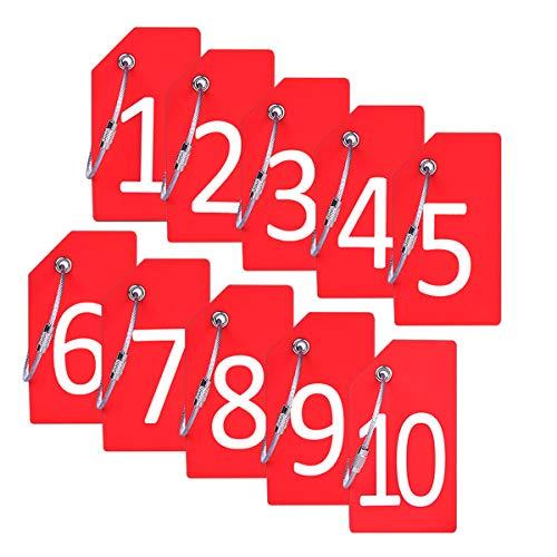 Identificador de Valijas con cable Acero - 1-10 Rojo
