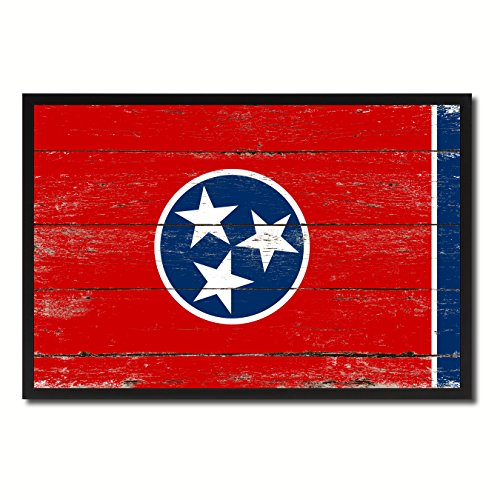 Tennessee State Flag Canvas Print, Black Picture Frame Gift Ideas Home Decor Wall Art Decoration