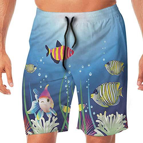 (ScottDecor Quick-Dry Beach Mens Shorts Casual Aquarium,Tropic Fish Seaweed Marine Workout Shorts L)