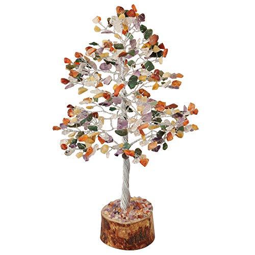 FASHIONZAADI Mix Chakra Natural Stone Feng Shui Bonsai Money Tree for Good Luck Chakras Balancing Crystal Gemstone Energy Decor Home Gift Size -10 Inch (Silver Wire)