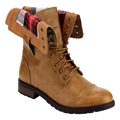 Refresh FN37 Women's Folded Cuff Back Zipper Block Heel Combat Military Boots