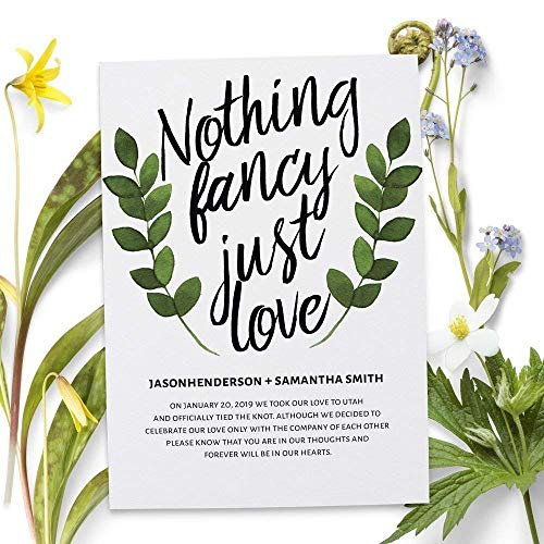 Nothing Fancy Just Love, Wedding Announcements, Elopement Announcement cards, Wedding Announcement Cards (Announcements Elopement Wedding)