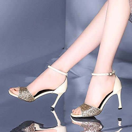 Da Alla bianco AJUNR riso alti dita 38 scarpe 9cm fibbie Sandali 37 tacchi Moda Donna tacchi tTTf5RU