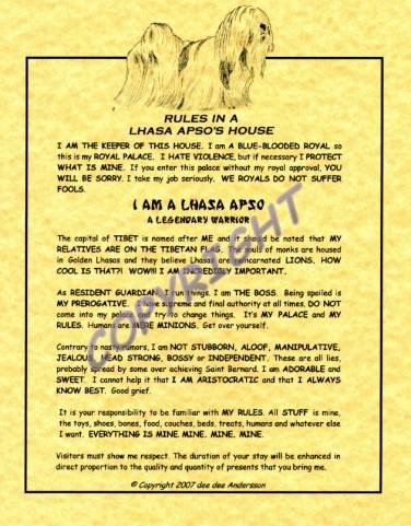 Rules In A Lhasa Apso's House