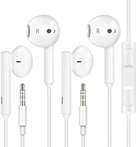 Headphones/Earphones with 3.5mm Wired in-Ear Headphones Wired Earbud with Microphone Compatible with iPhone, iPod, iPad, MP3, Huawei, Samsung