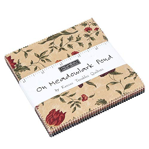 On Meadowlark Pond Charm Pack by Kansas Troubles Quilters; 42-5 Inch Precut Fabric Quilt Squares