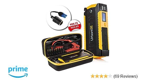 Urbanix 600A Peak 15000mAh- 4 X USB Power Bank Portable Car Jump Starter  Battery Booster Charger , LCD Screen & Compass, Led Flashlight -Ideal for