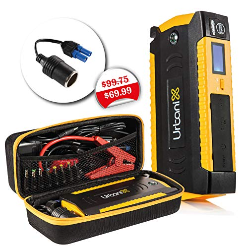 Urbanix 600A Peak 15000mAh- 4 X USB Power Bank Portable Car Jump Starter Battery Booster Charger , LCD Screen & Compass, Led Flashlight -Ideal for Camping, Special Bonus 12V Cigarette Lighter Adapter