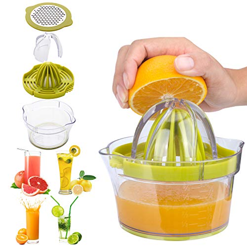AINAAN Manual Citrus Juicer / Lemon Orange Hand Squeezer Multi-Reamers Space Saving Kitchen Fruit Juicer with Built-In Measuring Cup / Garlic - Oxo Juicer Citrus