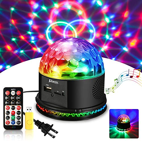 SOLMORE Disco Lights for Parties Sound Activated Strobe Light Disco Ball Dj Lights 7Colors Disco Party Lights Show for Parties Wedding DJ Karaoke Outdoor Gift with Remote -