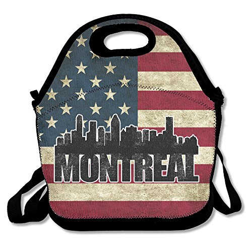 Montreal Skyline Silhouette Lunch Box Bag Lunch Tote Lunch Holder Waterproof Portable With Adjustable Crossbody Strap For Men Women Adults Kids Girls Teen Girls