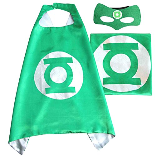 (Green Lantern) ROXX Superhero Superman Kids Girl Boy Cape and Mask Costume for Child (Green Lantern Costume For Men)