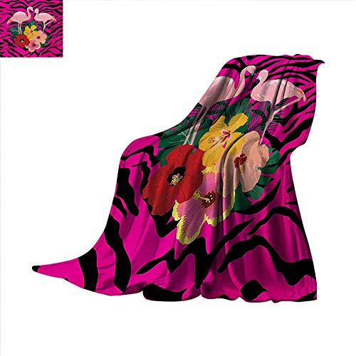 Pink Zebra Digital Printing Blanket Exotic Love Pink Flamingos on Hibiscus Bouquet Striped Background Boho Graphic Digital Printing Blanket 80