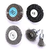 HOYIN 5PC Drill Accessory Kits-3PC Drill Wire Brush Attachment Sets/0.012In Carbon Steel,Coarse-1PC Flap Wheel 80Grits-1PC Polycarbide Abrasive Wheel with 1/4In Shank