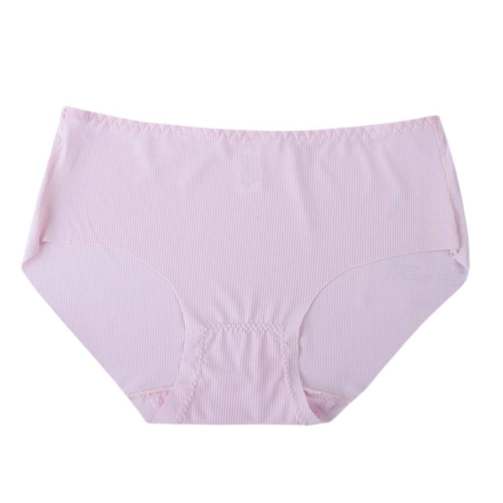 Lmx+3f Women Plus Size Soft Sexy Brief Lingerie No Trace Thread Soild Underwear Panties Solid Soft Underwear Pink
