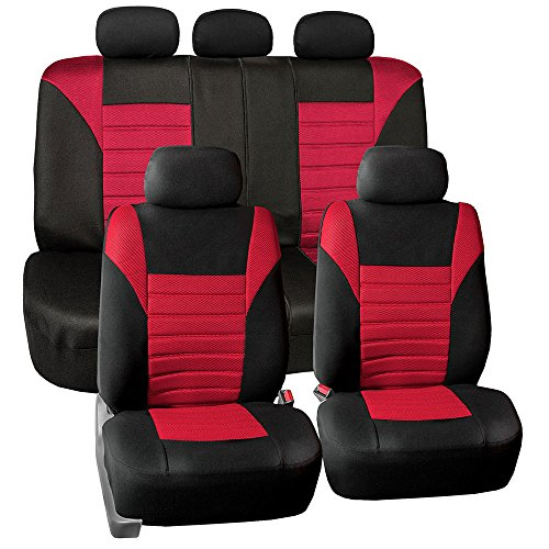 (FH Group FB068RED115 Universal Car Seat Covers Premium 3D Airmesh Design Airbag and Rear Split Bench Compatible Red)