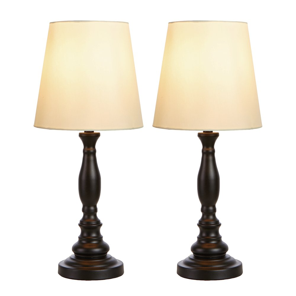 GLANZHAUS Traditional Elegant 18.9''H Set of 2 Dark Bronze Metal Base Bedside Table Lamp, Desk Lamp with Soft Lighting Perfect for Living Room, Bedroom