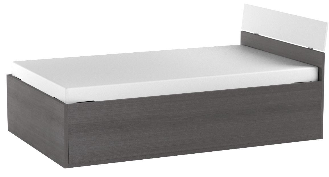 Composad - Línea Mi Piace - Cama de una plaza y media con cajones, mobiliario de dormitorio, color blanco y gris cemento
