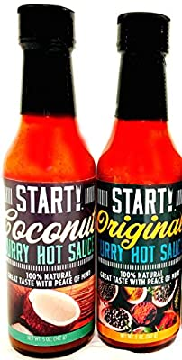 START! Curry Hot Sauce - Mix and Match Combo 2 Pack - Original and Coconut Flavors - Vegan + Gluten Free - Everyday Gourmet Light Spice (2 pack)
