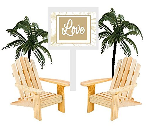 Wedding Anniversary Rustic Wood Unfinished Beach Chair Cake Decoration Cake Topper with Sign (Love)