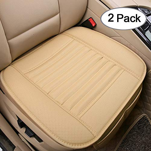Big Ant Car Seat Cushion, 2PC Breathable Car Interior Seat Cover Cushion Pad Mat for Auto Supplies Office Chair with PU Leather(Beige) ()