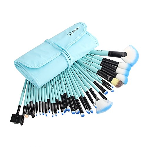 Professional Makeup Brush Set| Pro Cosmetic-32pc Pro Makeup Make Up Cosmetic Brush Set Kit w/ Leather Case Cosmetic Case Set
