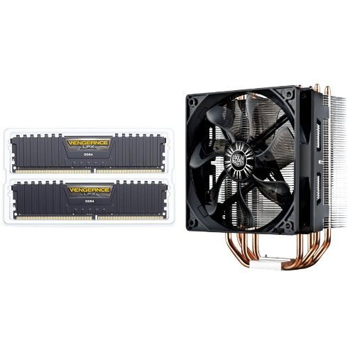 Corsair Vengeance LPX 16GB (2x8GB) DDR4 DRAM 3000MHz C15 Desktop Memory Kit - Black (CMK16GX4M2B3000C15) & Cooler Master Hyper 212 EVO RR-212E-20PK-R2 CPU Cooler with 120mm PWM Fan