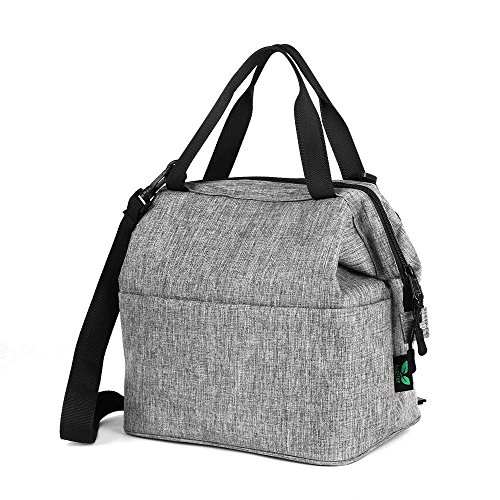 Blue Extra Bag YKK Cooler Pocket Grey Tote Lunch Strap Kids Shoulder F40C4TMP Adjusttable Zipper Cans Prep Adults Box Meal Lunch with Women 9 Bag Insulated Men CSUqw5