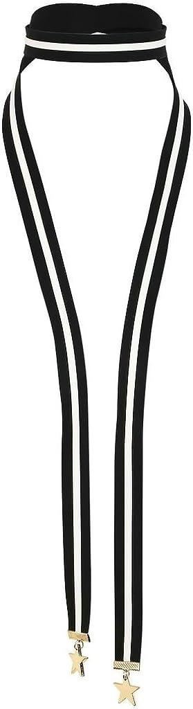 KnSam Gargntilla Acero Inoxidable Mujer, Choker Necklace Collar Cuero Neckless 2 Estrella Oro Blanco Negro