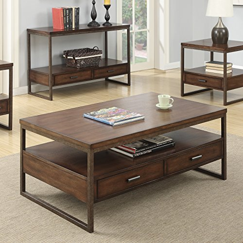 Coaster Home Furnishings 704308 Coffee Table, NULL, Light Brown/Rustic Brown Metal