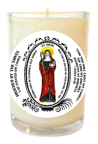 St Hilda for Learning and Self Worth 8 Oz Scented Soy Glass Prayer Candle by Touched By The Saints