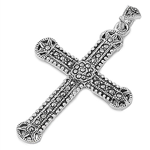 Cross Pendant Simulated Marcasite .925 Sterling Silver Charm - Silver Jewelry Accessories Key Chain Bracelet Necklace Pendants
