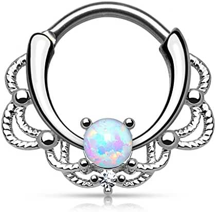 Stainless Steel Lacey Single Opal 16g Septum Clicker Ring - Choose Blue, White, Pink or Purple Synthetic Opal