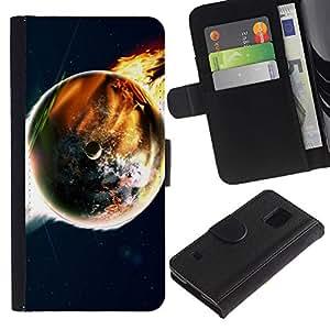 LASTONE PHONE CASE / Lujo Billetera de Cuero Caso del tirón Titular de la tarjeta Flip Carcasa Funda para Samsung Galaxy S5 V SM-G900 / Doomsday End World Art Earth Flames Apocalypse
