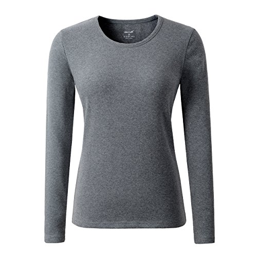 HieasyFit Women's Cotton Stretch Crew Neck T-Shirt Tee Top With Fleece Lined(Dark Gray (Gray Thermal Long Sleeve Shirt)