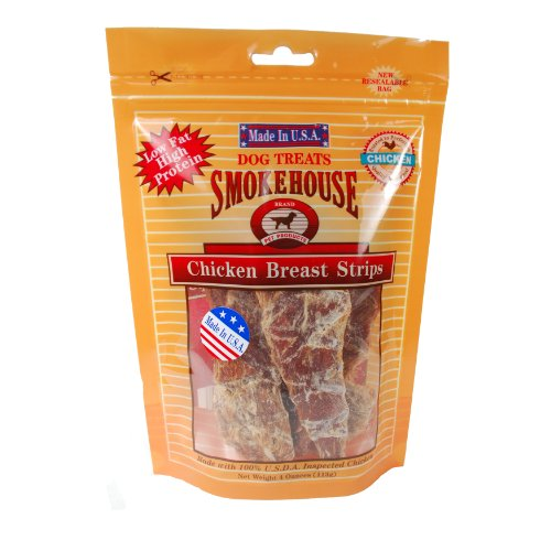 Smokehouse 100-Percent Natural Chicken Breast Strips Dog Treats, 4-Ounce, My Pet Supplies