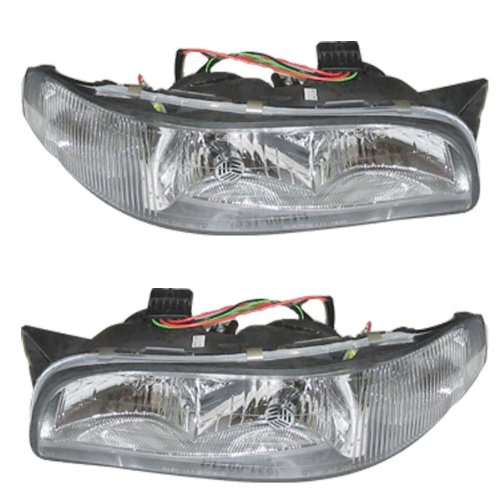 New Aftermarket Pair, Passenger & Driver Side Headlights That Fits A 1997-1999 Buick LeSabre Custom Limited 6Cyl 3.8L w/Cornering Lamp Equipped, Composite Type, DOT SAE Approved, OE Replacement, Clear Plastic Lens, With Bulbs (Type Part Light Cornering)