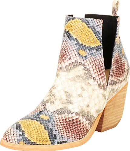 Cambridge Select Women's Western Pointed Toe Side V Cutout Chunky Stacked Block Heel Ankle Bootie,5.5 B(M) US,Multi Snake PU -